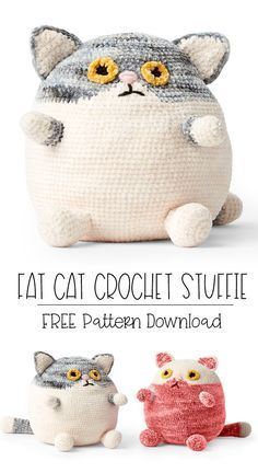 FREE EASY CROCHET STUFFIE PATTERN Inspired by grumpy cat and kawaii toy trends, snuggle up to this endearing crochet toy that kids will love! Stitching in Bernat Baby Velvet and Bernat Crushed Velvet… Amigurumi Free, Crochet Patterns Amigurumi, Crochet Dolls, Crochet Stitches, Crochet Cat Pattern, Crochet Cat Toys, Crocheted Toys, Crochet Fabric, Amigurumi Toys