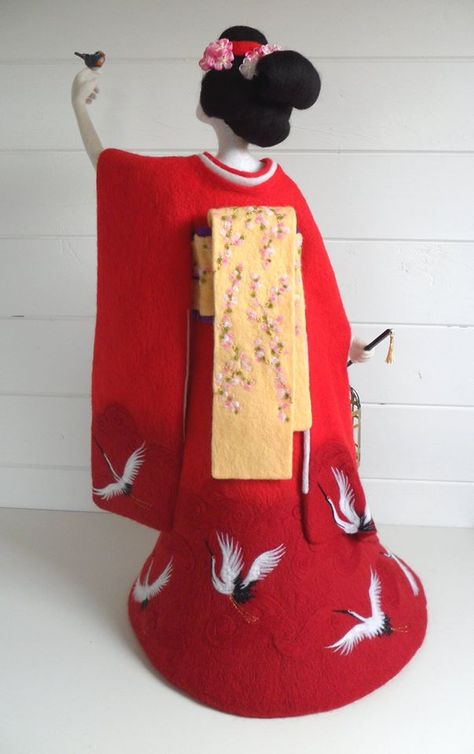 The Geisha and the Nightingale, felt statue by Mags Walsh.