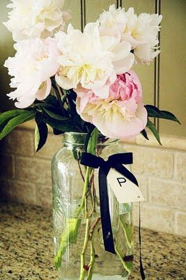 Flowers in jars for outdoors