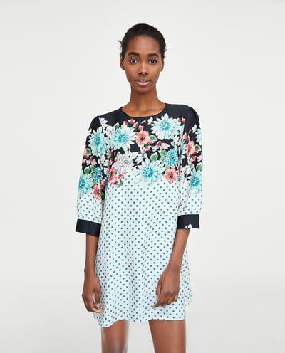 Vestido Estampado Flores Y Lunares última Semana Mujer Zara México Dot Print Dress Women Dress Online Dresses