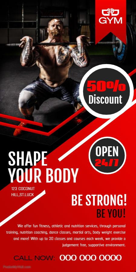 Red fitness/gym class advertisement rollup banner template