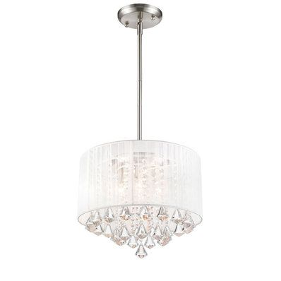 550 16 5 Hx20 Wx20 D 3 60w Bulbs Brushed Nickel Ceiling Lights Flush Mount Ceiling Lights Drum Shade Chandelier