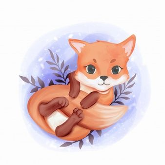 Baby Fox Adorable Play With Its Tail Cute Animal Drawings Baby Fox Fox Illustration
