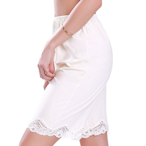 Cotton/Polyester Lace Pettipant Slip Beige (Medium) - CV11WLNWCED,Women's Clothing, Lingerie, Sleep & Lounge, Lingerie, Slips  #women #fashion #clothing #style #sexy #outfits #Slips