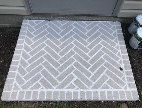 Stenciled Concrete Floor, Painted Concrete Floors, Concrete Bricks, Concrete Patio, Painting Concrete Porch, Decorative Concrete, Cutting Edge Stencils, Patio Flooring, Brick Flooring