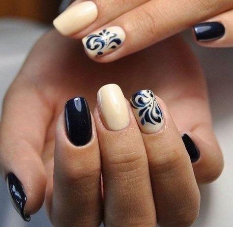 déco ongles facile à faire, modele d'ongle en gel beige et noir