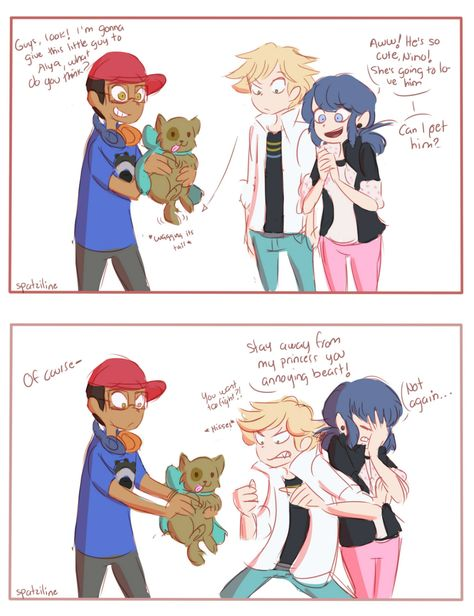 Aww Adriens so cu- Ack no! Marinette! Spit him out