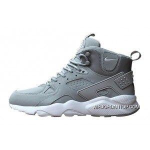 reputable site 579ab a77b2 Nike Air Huarache High Top Grey/White Mens Shoes Copuon in ...