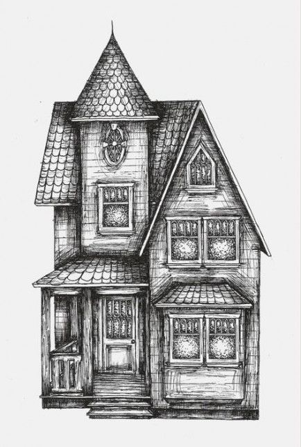 43 Ideas For House Sketch Drawing Simple House Design Drawing House Drawing Haunted House Drawing