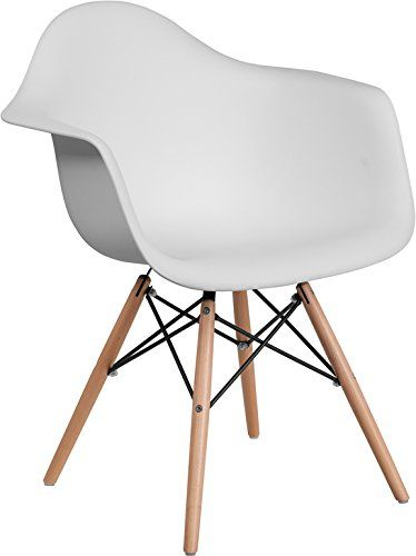 Mid Century Modern Contour Accent Dining Chair In White Finish