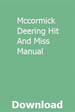 Mccormick Deering Hit And Miss Manual Deering Car Hauler Trailer Manual