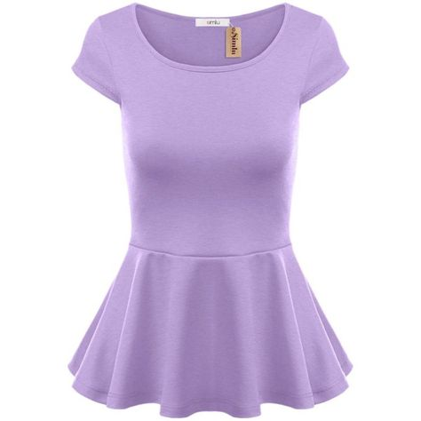 Simlu Short Sleeve Womens Peplum Shirt Reg. and Plus Size Peplum Top... (120 SEK) ❤ liked on Polyvore featuring tops, plus size purple top, peplum shirt, short sleeve shirts, plus size tops and shirt tops