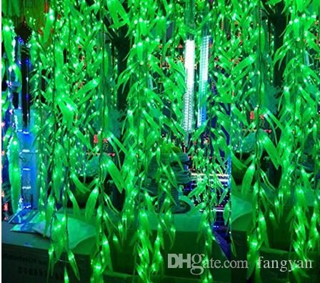 100 Leds 3 5 0 6m Artificial Salix Leaf Vine Wedding Curtain Light For Home Garden Luminaries Led Decoration C Holiday Lights Curtain Lights Led Curtain Lights