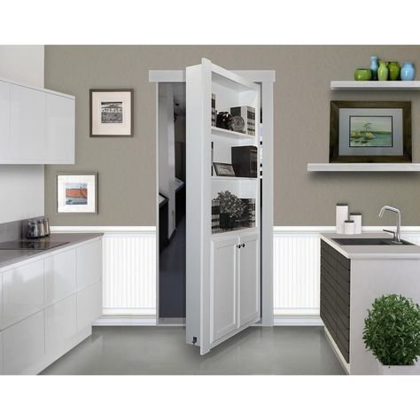 Add elegance and function to your doorway using The Murphy Door Assembled White Flush Mount Bookcase Door Solid Core MDF Single Prehung Interior Door. Murphy Door, Hidden Spaces, Hidden Rooms In Houses, Hidden Doors In Walls, Tiny Houses, Small Spaces, Bookcase Door, Basement Remodeling, Basement Bathroom Ideas