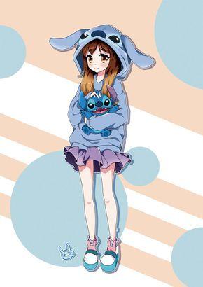 Anime Lilo And Stitch สาวอน เมะ การ ต นด สน ย ภาพวาดด สน ย