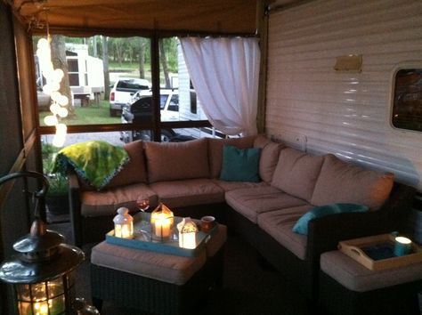 Screened in porch at the lake... Absolutely love it... Everything purchase second handle... Even the patio-mate screen porch