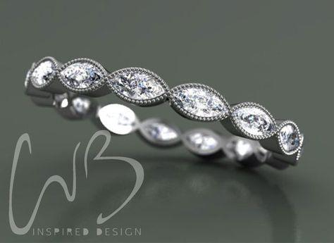 Bezel Set Marquise Diamond Platinum Eternity by CVBinspiredDesign