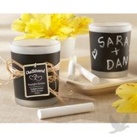 """""""Chalkboard"""" Frosted-Glass Tealight Candleholders"""