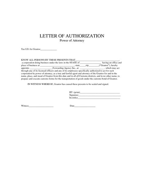 power authorization letter sample employment verification form - letter of authorization form