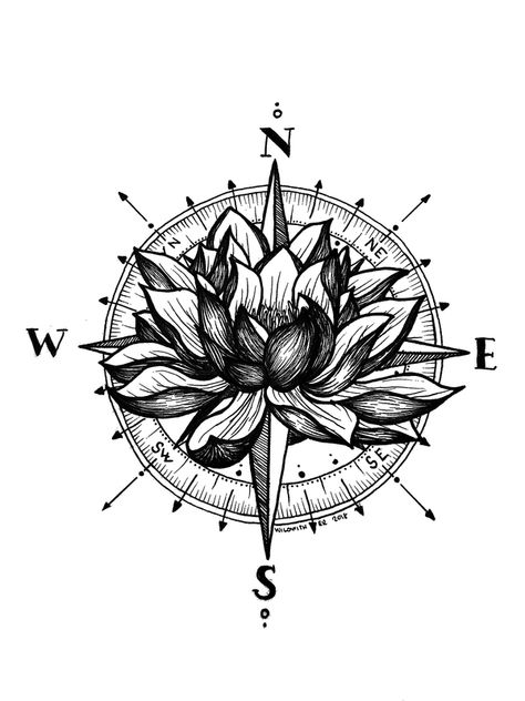 Lotus Compass Art Print by Wildwither - X-Small Small Compass Tattoo, Compass Art, Compass Tattoo Design, Compass Drawing, Compass Tattoo Forearm, Nautical Compass Tattoo, Body Art Tattoos, Tattoo Drawings, Sleeve Tattoos