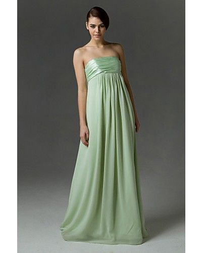 190f14ed70c3f Sage Empire Strapless Floor-length Chiffon Maternity Bridesmaid Dress...  Maybe add a colored/flowered sash at empire waist?