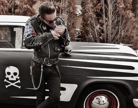 Enough with the smokes though! Rockabilly ride and guy