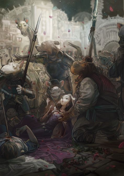 "Sad, yet beautiful (and inspiring!) illustration by S_G ""among the helpless audience "" I get a Final Fantasy vibe from it as well."