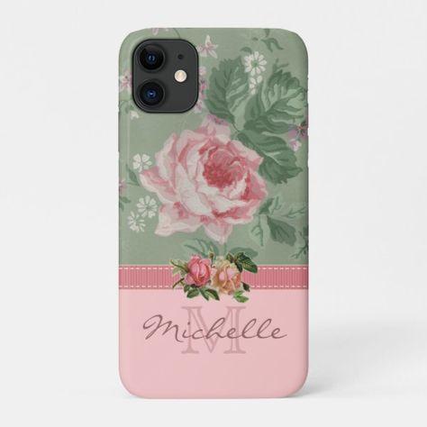 Elegant Vintage Pink Floral Rose Monogram Name Case-Mate iPhone Case