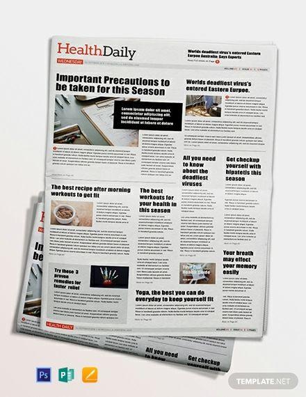 Health Newspaper Template Word Doc Psd Apple Mac Pages Publisher Newspaper Template Newspaper Template Word Microsoft Word Templates