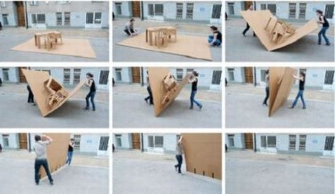 Simple Pop Up cardboard furniture folds up to carry Cardboard furniture and Paper pop