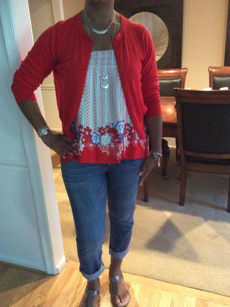 CAbi - Brett jeans, reversible skirt, poppy cardi