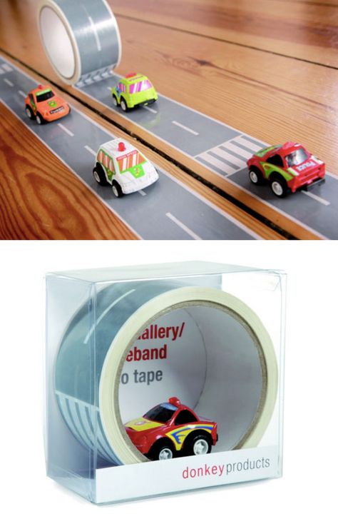 Road adhesive tape. Donkey offers this tape as a road, 33 meters long and 5 cm wide and can recreate a car track for your children in any place, and at the end, just off the ground. It costs about € 11.95 and it's would make a great #Christmas stocking stuffer!