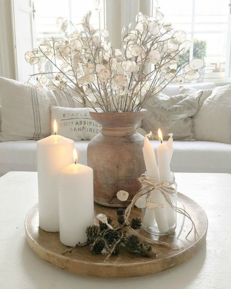 Serene and spare all white Scandi style living room with Mora clock - Villa Jenal. Home Living Room, Living Room Decor, Living Room Interior, Nordic Living Room, Living Room Grey, Coffee Table Decor Living Room, Living Room Candles, Christmas Living Rooms, Decorating Coffee Tables