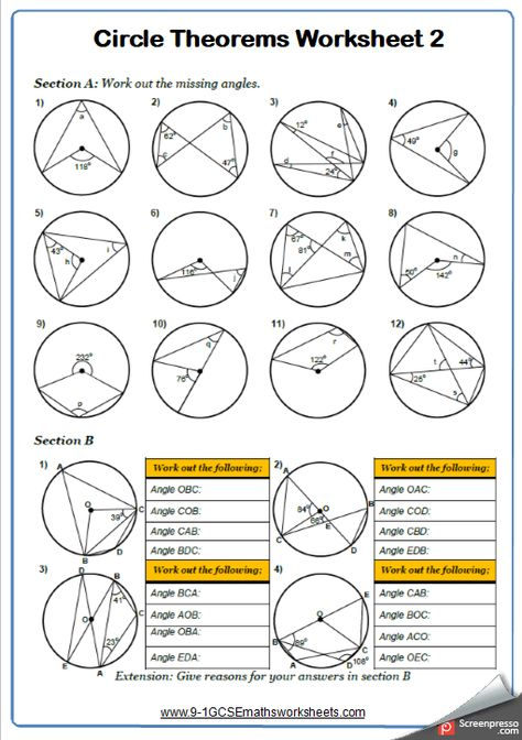 Angles In Circles A Maths Worksheet And Answers 9 1 Gcse Higher Grade 6 Year 10 Circle Theorems Geometry Worksheets Math Worksheet Pre ap geometry worksheets