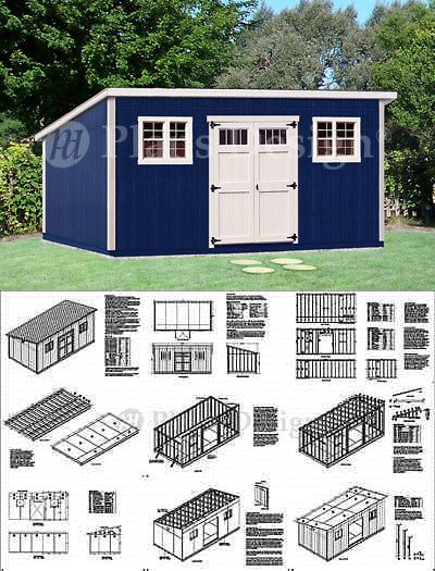 10 X 20 Deluxe Modern Backyard Storage Shed Plans D1020m Free Material List 610708152064 Ebay Backyard Storage Sheds Backyard Storage Modern Backyard