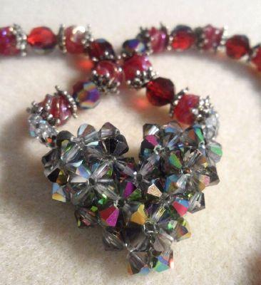 "Alicia Sova - ""Crystal Diamond Heart with Ruby Necklace"""