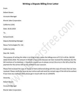 Writing A Dispute Billing Error Letter Letter Templates Free