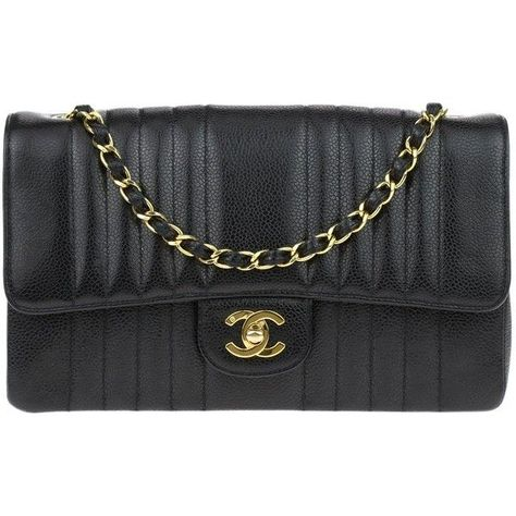 1d22a36cd03d9e Pre-owned Chanel Vintage Black Caviar Vertical Quilted Single Flap Bag  ($3,125) ❤ liked on Polyvore featuring bags, handbags, woven handbags,  woven leather ...