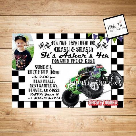 List Of Grave Digger Birthday Party Invitations Monster Trucks