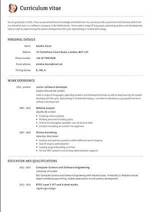 Cv Exaple Backtscoreks Cv Examples Cv Template Online Resume Template