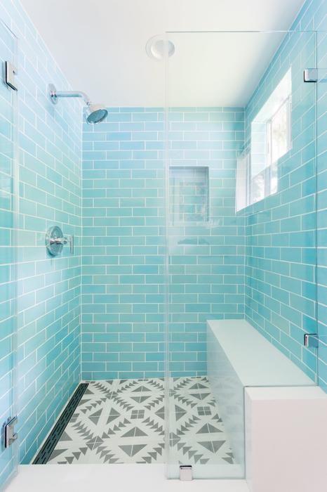 3x8 Subway Tile Blue Bell Installed Bathroomdiydecor Small