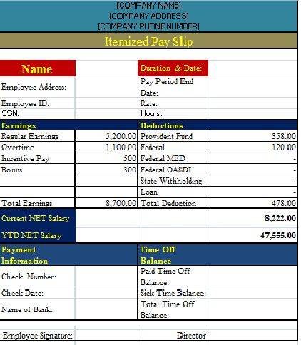 The template has all details that one may need at a time to get a - payslip template free download