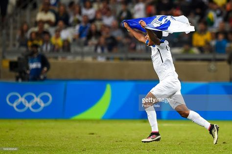 Team Honduras celebrates after a match between Republic of Korea and Honduras as part of Men`s Football - Olympics at Mineirao Stadium on August 13, 2016 in Belo Horizonte, Brazil.