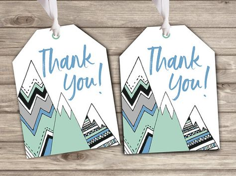 Gift Tags Adventure Awaits Baby Shower theme Baby Boy Alpine Mountains Favor Thank You
