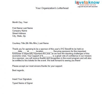Sponsorship Request Letter  Nonprofit Fundraising