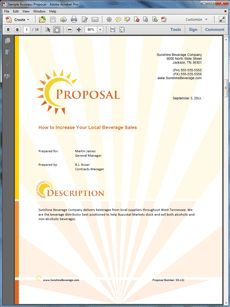 Beverage Distributor Product Sales Sample Proposal   Create Your Own Custom  Proposal Using The Full Version Of This Completed Sample As A Guide Wiu2026