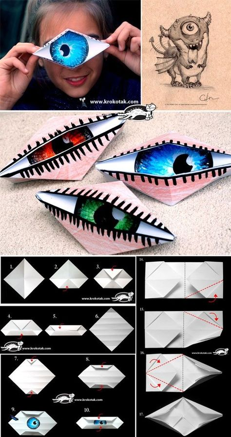 5 senses: Fun idea to make an eye. This is an origami paper folding activity. Ea… 5 senses: Fun idea to make an eye. This is an origami paper folding activity. Origami Eye, Origami Paper, Origami Dragon, Origami Folding, Origami Hand, Fun Origami, Origami Butterfly, Art For Kids, Crafts For Kids
