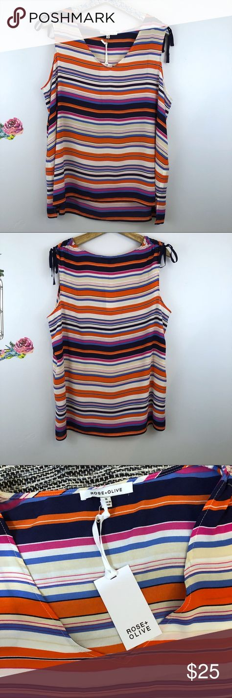 eec61c16793ef Rose + Olive striped V-neck top size 1x Plus Rose + Olive striped  sleeveless top size 1x Plus Multi color stripes throughout 100% polyester  New wit tag Tie ...