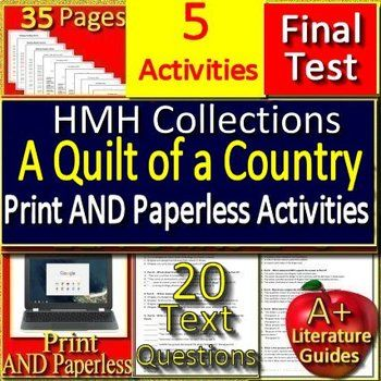 A Quilt Of A Country 9th Grade Hmh Collections 1 Activities Hrw In 2020 Teacher Guides Vocabulary Activities Passage Writing