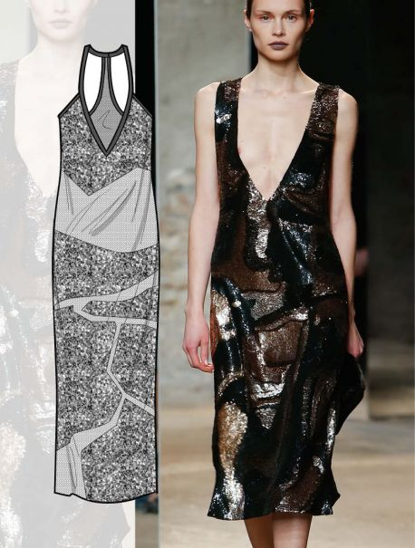 Dresses flat drawings, vector technical sketches for Fall winter Trend forecasting by